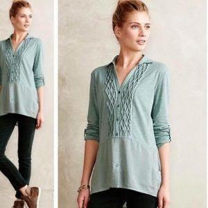 Meadow Rue Sage Green Reha Henley Tunic Pockets